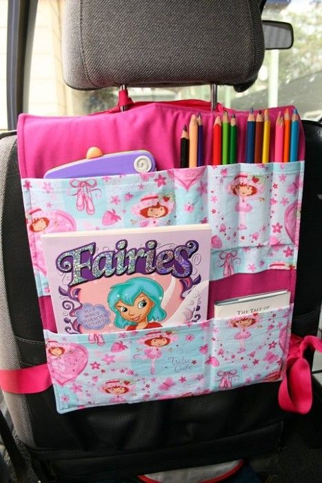 Car Seat Organiser - by LittlePinkPebbles. Good idea for a long car trip