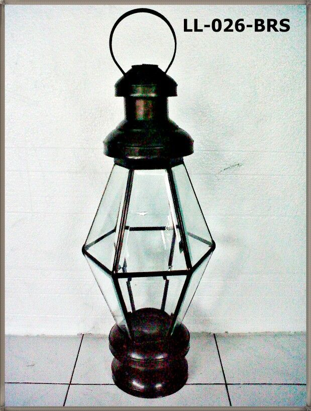 masung special lantern for candle holder, made from antique glass and brass bevel. Rp.400.000