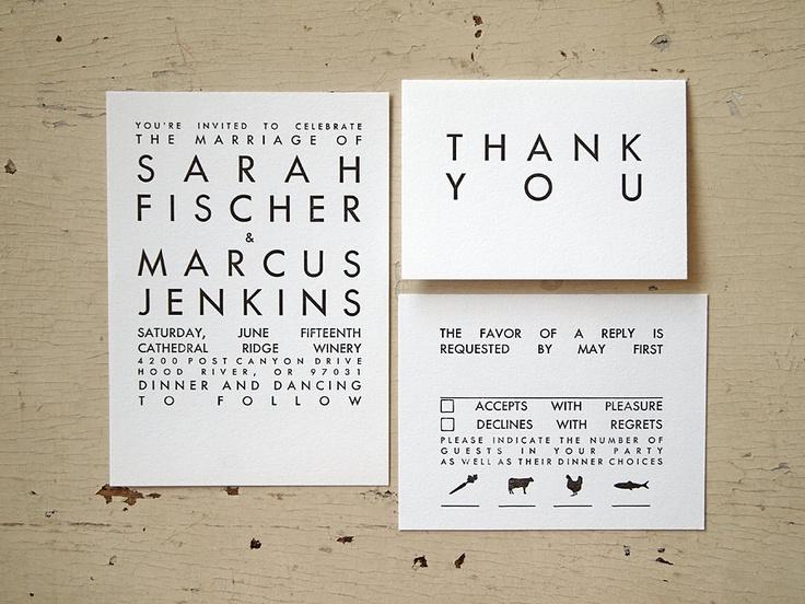 Modern wedding invitation simple typography letterpress set