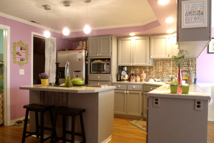 Kitchen whimsical purple gray painted cabinets our for Purple paint in kitchen