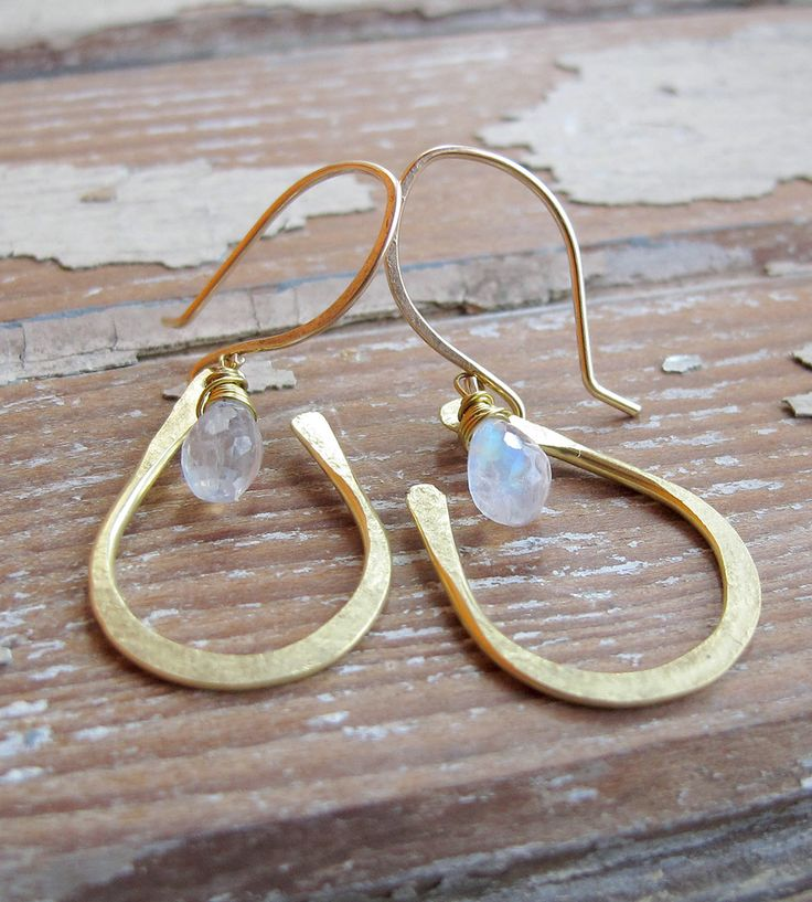 Moonstone Brass Drop Earrings