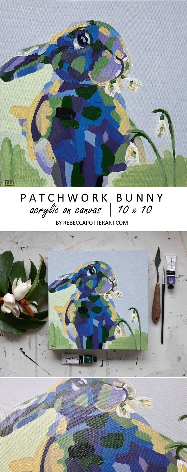 Patchwork Bunny. Acrylic on Canvas Painting 10 x 10 by Rebecca Potter. August 2017