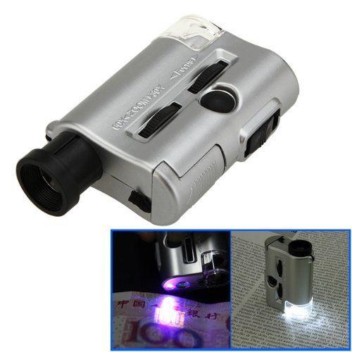 Mini 30-60X Pocket Microscope Loupe LED UV Light Magnifier
