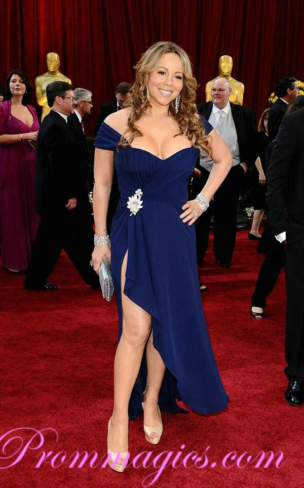Mariah Carey Glamorous Oscar Red Carpet Evening Dress Celebrity Style