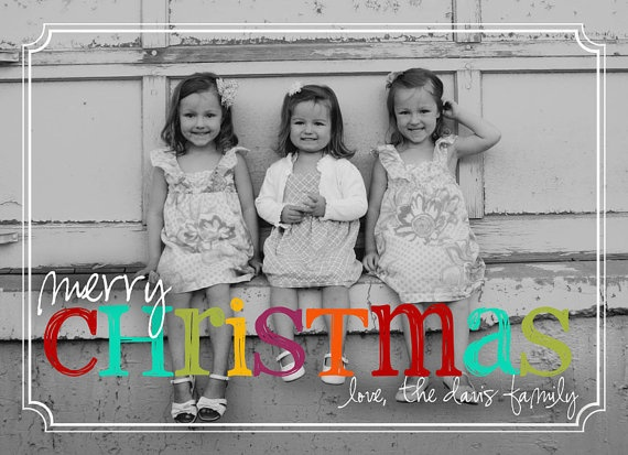 card idea.: Cards Abbey, Cards Ideas Maybe, B W Photos, Cards Ideas Lov, Cards Photoshop, Christmas Cards Lov, Christmas Cards Looks, Colors Christmas, Bright Colors