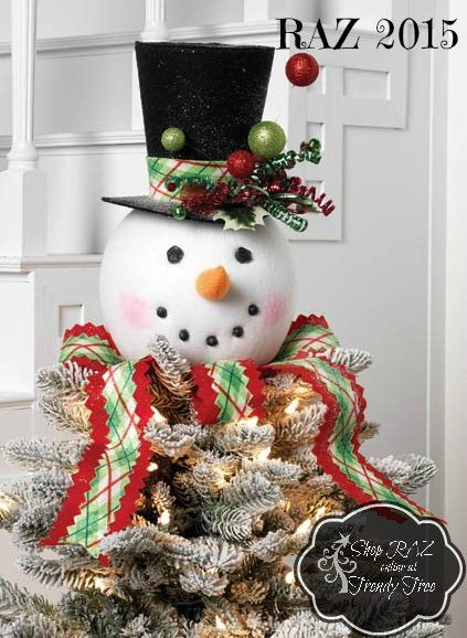 New Snowman Head tree topper from the RAZ Jingle All The Way Collection. New plaid neck ribbon and hat band. Arriving to Trendy Tree this summer!  #TrendyTree #RAZ
