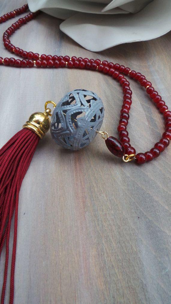 Burgundy tassel necklace.Long beaded tassel necklace. Bohemian necklace. Boho…