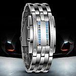 Da uomo Orologio alla moda Creativo unico orologio Orologio da polso Digitale LED Calendario Silicone Banda Braccialetto Nero Argento del 2017 a €6.85