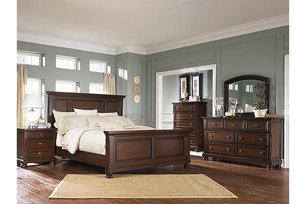 "The Porter Chest of Drawers from Ashley Furniture HomeStore (AFHS.com). The warm rustic beauty of the ""Porter"" bedroom collection uses a deep finish and ornate details to create an inviting furniture collection that fits comfortably into any bedroom decor."