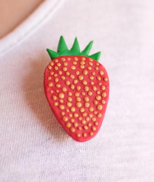 Strawberry brooch handmade from fimo. £2.
