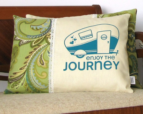 Camper pillow cover, Retro Camper Trailer, Airstream - Screen Print with White Lace Trim - Aqua Blue, Aquamarine, Chartreuse Green.  Cute!
