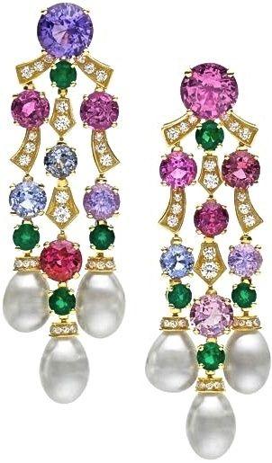 BVLGARI multi gemstone and diamond earrings, FABULOUS! love the color combo~