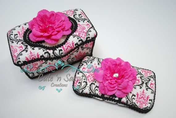 These sell for $ 28 HOWEVER~ Looking at them, they can be recreated with some damask fabric, modge podge, ribbon, flower and creativity! 2 Pc Baby Wipe Case Gift Set - Madison Damask Covered Wipes Cases ~here is a tutorial video I found!: http://www.youtube.com/watch?v=nWv7tR-yqmI