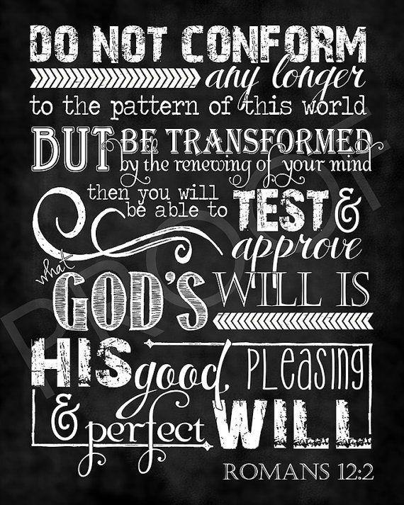 Scripture Art  Romans 12:2  Chalkboard by ToSuchAsTheseDesigns