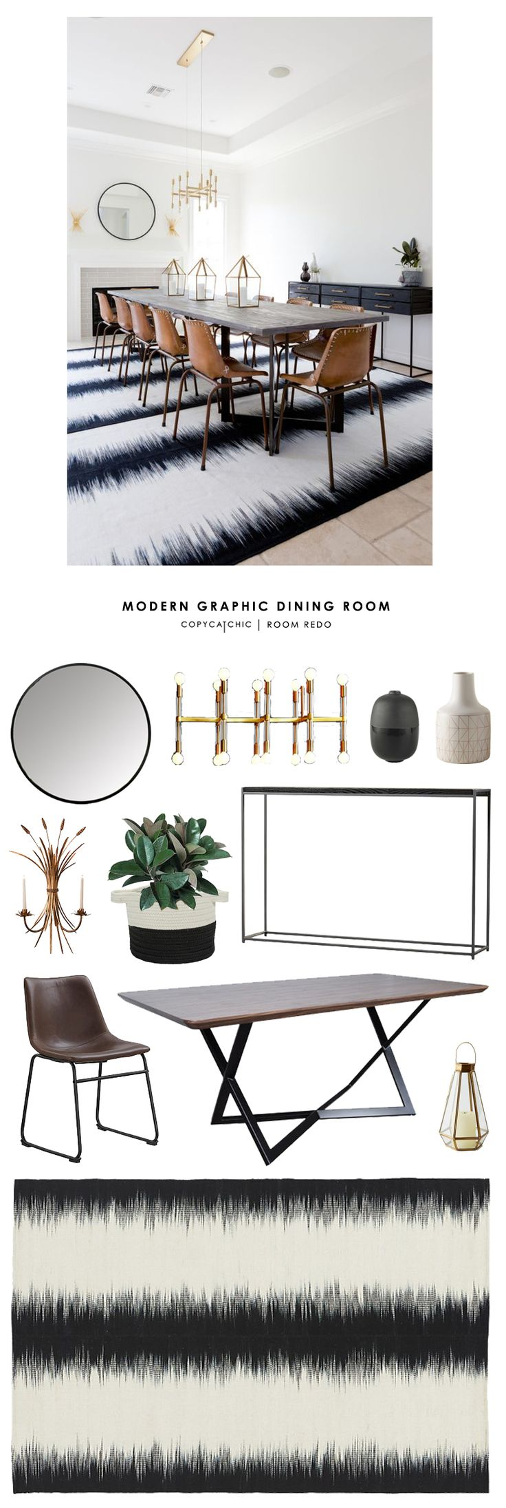 Copy Cat Chic Room Redo | Modern Graphic Dining Room