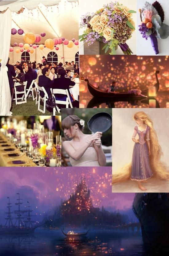 Tangled Wedding. I wouldn't care how much my bridesmaids hated me, they would be wearing long purple dresses.