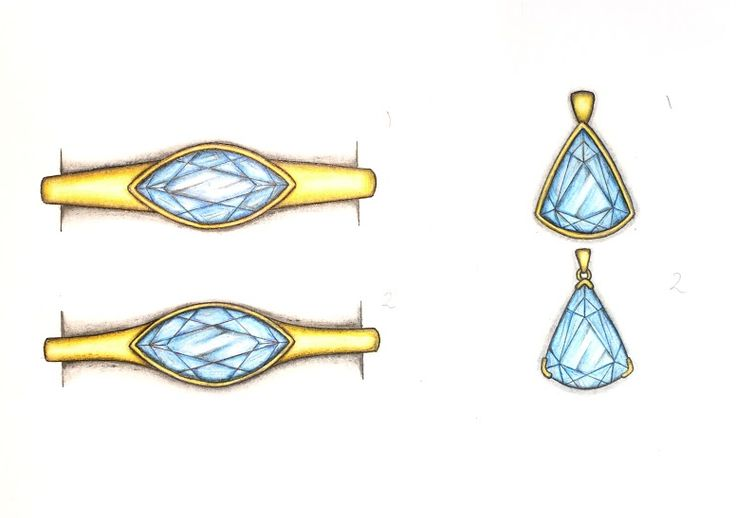 Designs for a yellow gold bangle or pendant using a striking blue topaz! #bangles #jewellerydesign #gold #topaz #bespoke