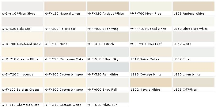 Behr White Chart Antique White Paints Interior Paint