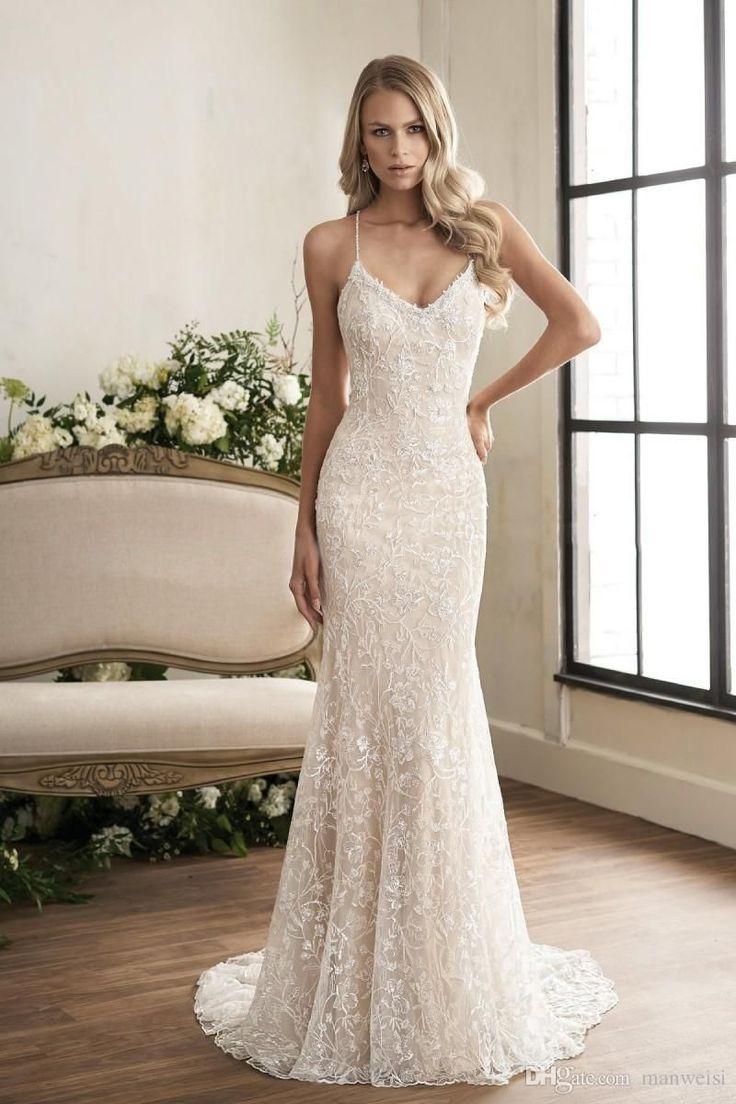 Jasmine 2018 Crystal Mermaid Wedding Dresses Vestido De Novia Sexy Spaghetti Nec…