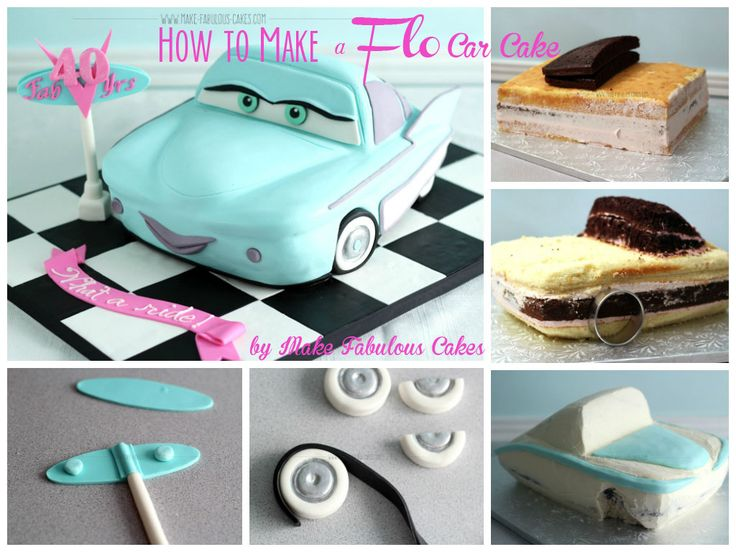 My 40th birthday cake is Flo from the Disney Movie Cars.  Check out the pictures on how to make this car cake.