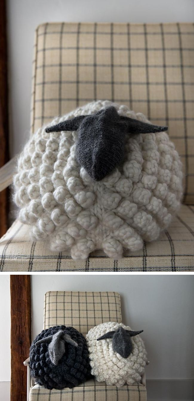 203 best sheep images on pinterest sheep bags and beautiful bobble sheep pillow knitting pattern in gentle giant from purl soho bankloansurffo Gallery