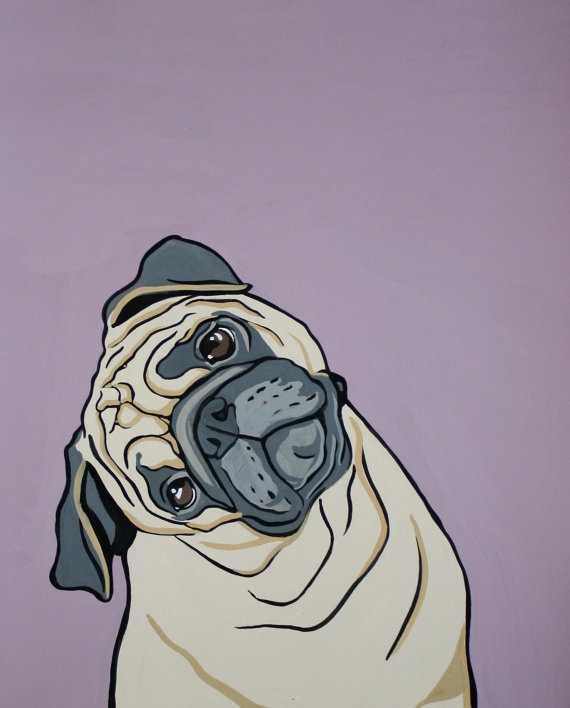 Pug Print  the inquisitive pug by MandasArtStudio on Etsy, $20.00