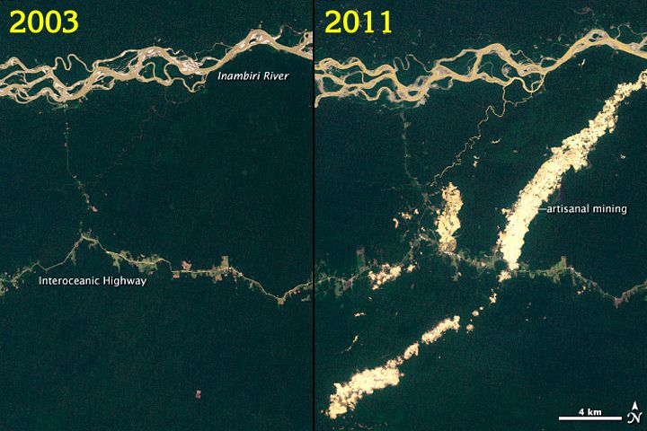 Figure 3.   Satellite images provided by NASA show the high landscape change due to artisanal mining activities between 2003 and 2011 on the region of Madre de Dios. Source: UNEP, CATHALAC.