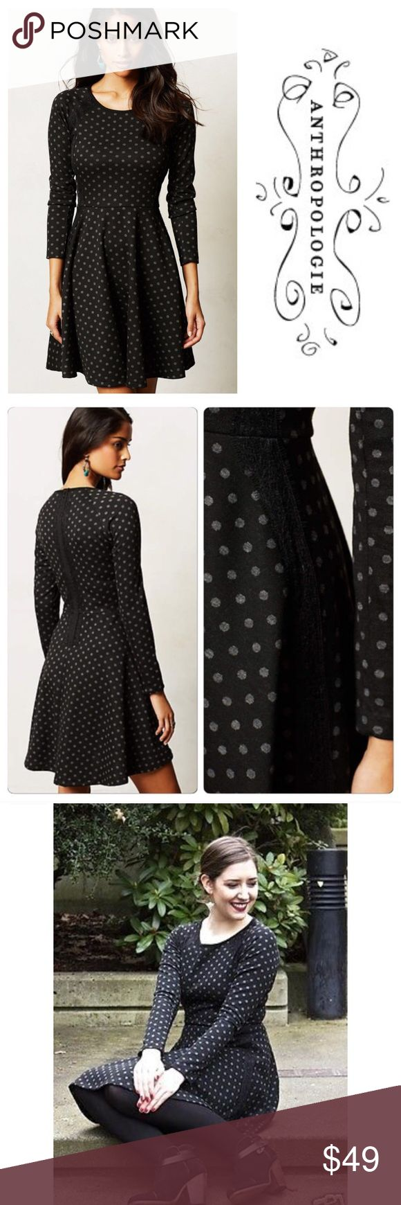 Anthropologie Weston Wear Laced Framed Dress M Anthropologie Weston Wear Laced Framed Dress Black Grey Dots Stretch  Sz M Excellent preloved preloved condition, no pilling or rubbing, no imperfections  Black background with gray polkadots Back zipper Fitted bodice and flared skirt Long sleeves Made in San Francisco 68/31/1 polyester/rayon/spandex Fabric has some stretch Black lace detailing Measured flat 19.5 inch sleeve inseam 17 inch bust  14 inch natural waist 37 inch length Anthropologie…