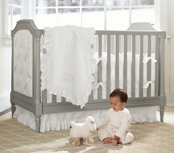 were in love with the blythe crib potterybarnkids spring2014 grey crib room girlskids roombaby pregnancypottery barn - Pottery Barn Babies Room