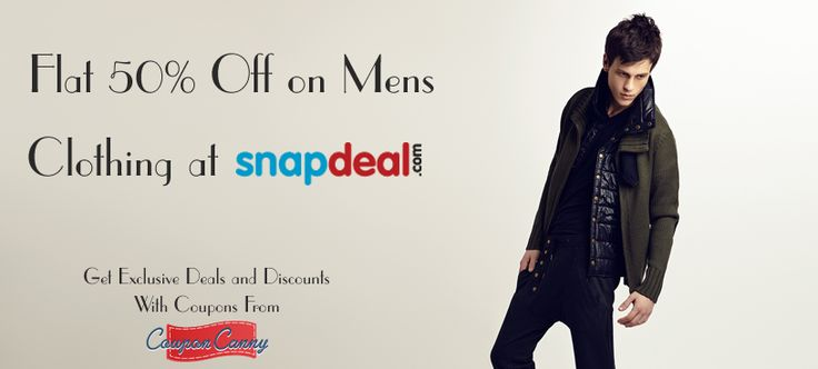 Flat 50% off on mens Clothing at #Snapdeal! CLAIM NOW : http://www.couponcanny.in/snapdeal-coupons/