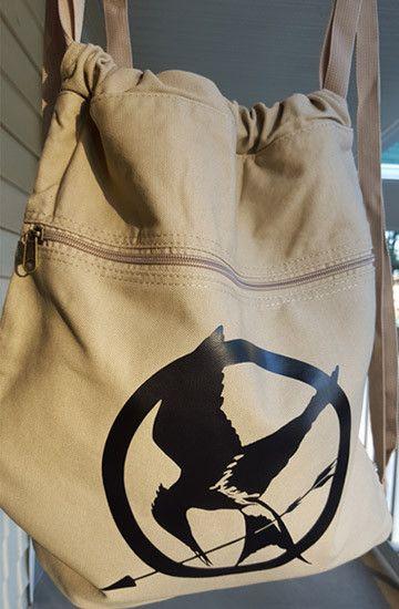 Hunger Games Backpack Red Drawstring Mockingjay Canvas Book Bag