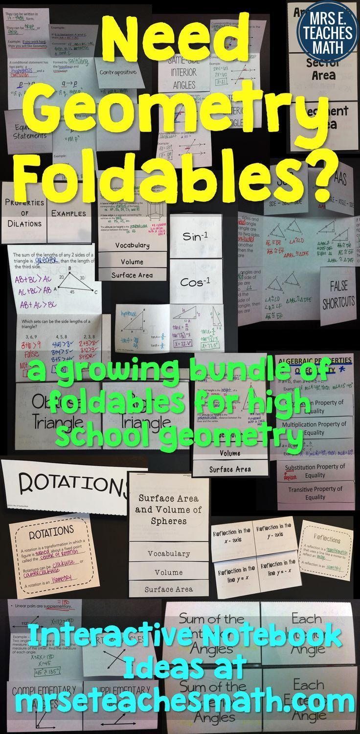 geometry foldables and interactive notebook ideas by Mrs. E Teaches Math