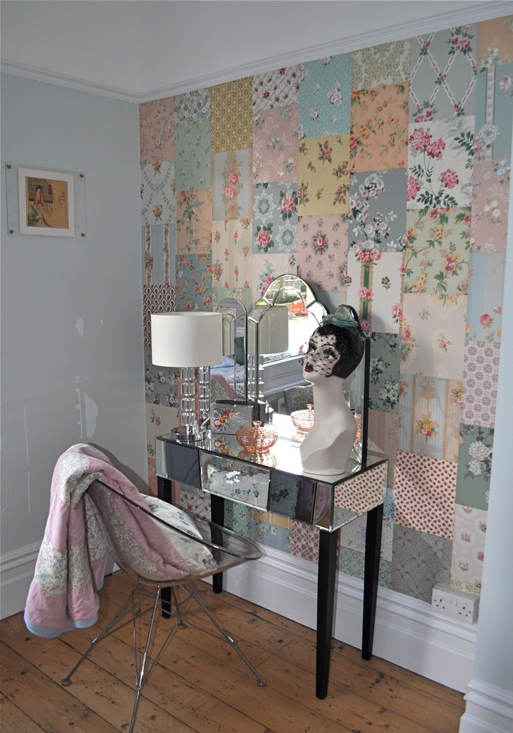 love the colours-  Patchwork wall from vintage wallpaper ~ HenHouse; interesting idea, for a craft space maybe? (KLH)