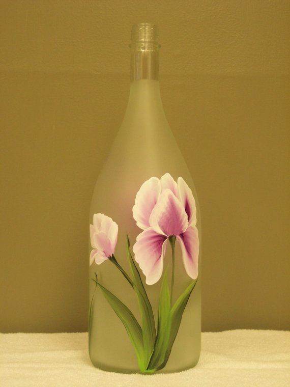 Hand Painted Decorative Glass Bottle with Pink by NaturesPetals, $25.00