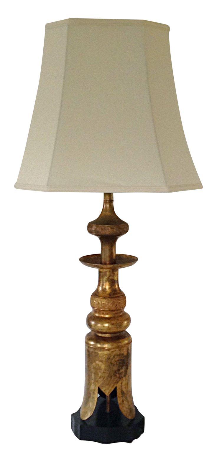 Viyet designer furniture lighting fendi casa tall table lamps - Tall Gilt Asian Table Lamp With Shade