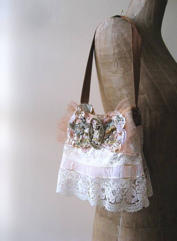 Antique Buckle Bow Bag Vintage Lace Wedding by AllThingsPretty, $165.00
