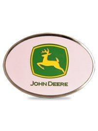 John Deere Pink Enamel Pewter Belt Buckle