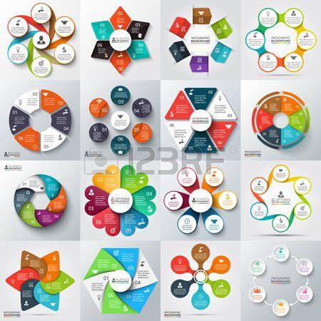 proceso creativo: Gran conjunto de flechas de vector, hexágonos, círculos y otros elementos para la infografía. Plantilla para el diagrama del ciclo, gráfico, presentación. Concepto de negocio con 6 opciones, partes, etapas o procesos.