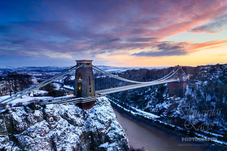 Clifton Bridge at Dusk in Winter by Daugirdas Racys