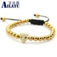 Ailatu High Grade Jewelry Wholesale Leopard Head & 6mm Brass Beads Braided Macrame European American Weaving Bracelet
