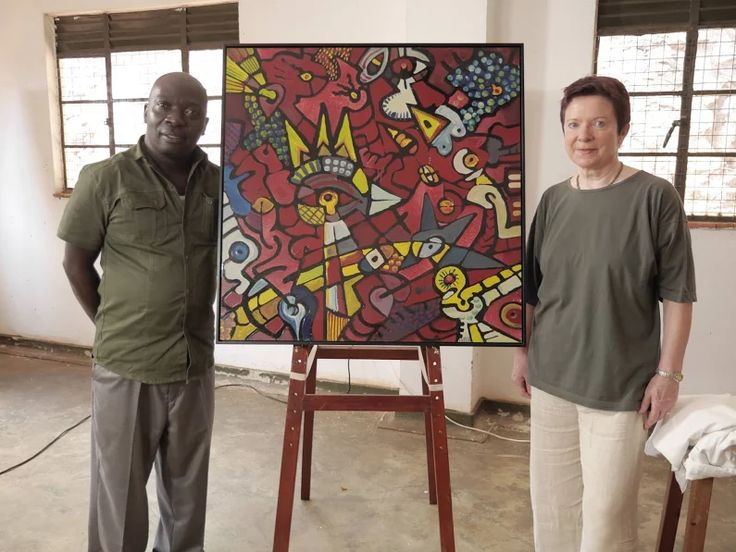 This painting by OUBEY travelled to Uganda for the purpose of an encounter with Kizito Maria Kasule , founder and director of NIAAD. It belongs to the so far hidden treasure of OUBEYs still unpublished legacy and has never been presented to public. Thank you, Dr. Kizito for your enriching contribution! The video of this exciting encounter will be published on our YouTube Channel - https://www.youtube.com/user/oubeydotcom.