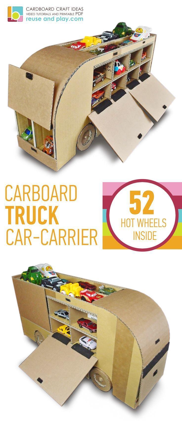 Cardboard Truck Car Carrier Diy Toy Car Storage Pdf Pattern Reuse And Play Diy Toys Car Toy Car Storage Diy Toys