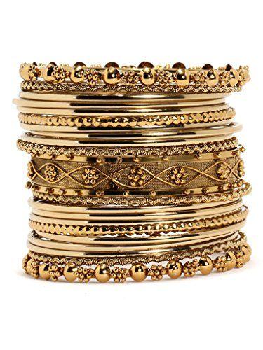 Bindhani Traditional Wedding Gold-Plated Bangles Bracelets Set For Women (Mehandi )