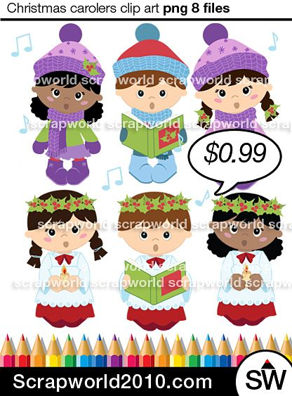 Christmas Carolers Clip Art carolling kids, It includes children in Christmas clothes.8 files png and jpg in zip. Transparent background instant download.