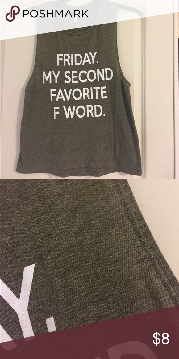 Friday is my second favorite F word tank It is what it is lol heather green olive Bella Tops Tank Tops