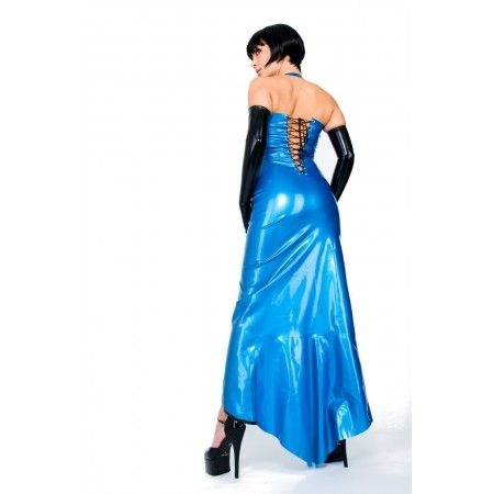 Robe de soirée en latex Latexa entièrement fendue à l'avant. Personnalisable, choisissez parmi 9 couleurs au choix!  http://malins-plaisirs.com/362-robe-de-soiree-latex-jade.html