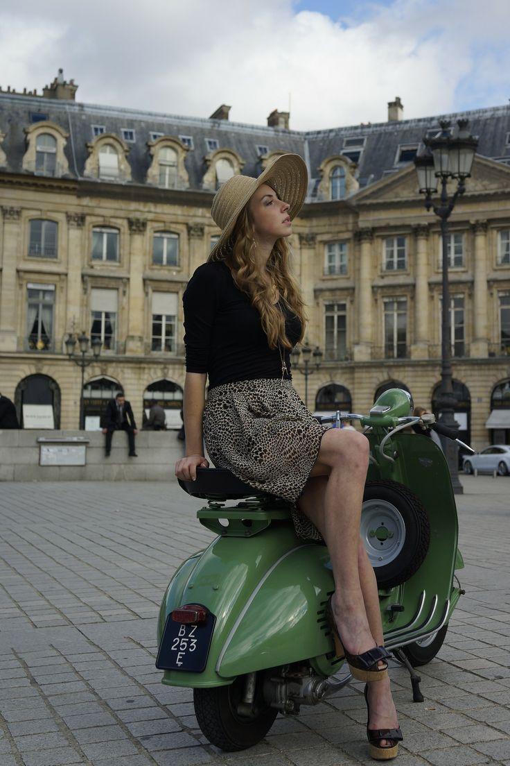 photoscotland:  Model: Hélène Delpuech, Paris Vespa Style Shooting in Paris, Oct 26th