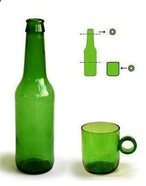 Cut an old glass bottle and turn it into a mug. Ive made a bottle glass before; clever idea to make it into a mug.