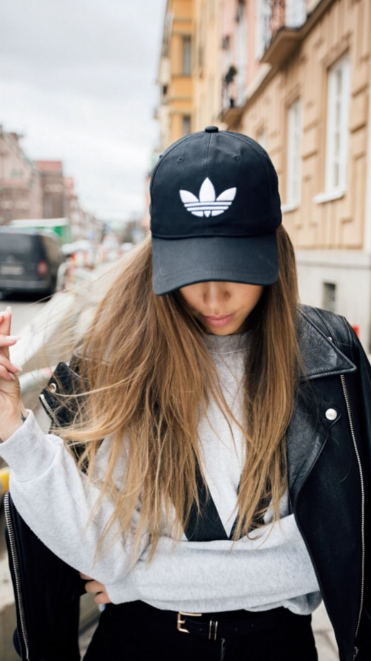 Kenza sporty chic leather jacket grey sweatshirt Adidas cap street style fashion bronde hair
