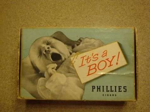 VINTAGE, ITS A BOY 1957 Phillies cigar box (Bayuk cigar). I can not find this box any where on the internet, This box is RARE!.Box is inprettygood shape, lid has slight bow in it,little wear on edges, a little stainage on inside, but for 50 years old this box is in good shape! text or call bill 618-535-2029